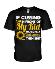 If cussing in front of My kid V-Neck T-Shirt thumbnail