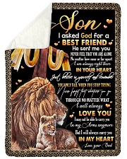 """To My Son - Lion - I Asked God For A Best Friend  Large Sherpa Fleece Blanket - 60"""" x 80"""" thumbnail"""