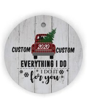 To Wife - Christmas - Red Truck - Personalized Circle ornament - single (wood) thumbnail