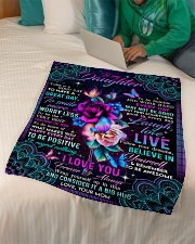 """To Daughter - Roses - Today Is A Good Day To Have Small Fleece Blanket - 30"""" x 40"""" aos-coral-fleece-blanket-30x40-lifestyle-front-07"""
