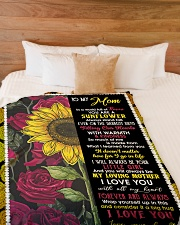 "To My Mom - Sunflower - Fleece Blanket Large Fleece Blanket - 60"" x 80"" aos-coral-fleece-blanket-60x80-lifestyle-front-02"