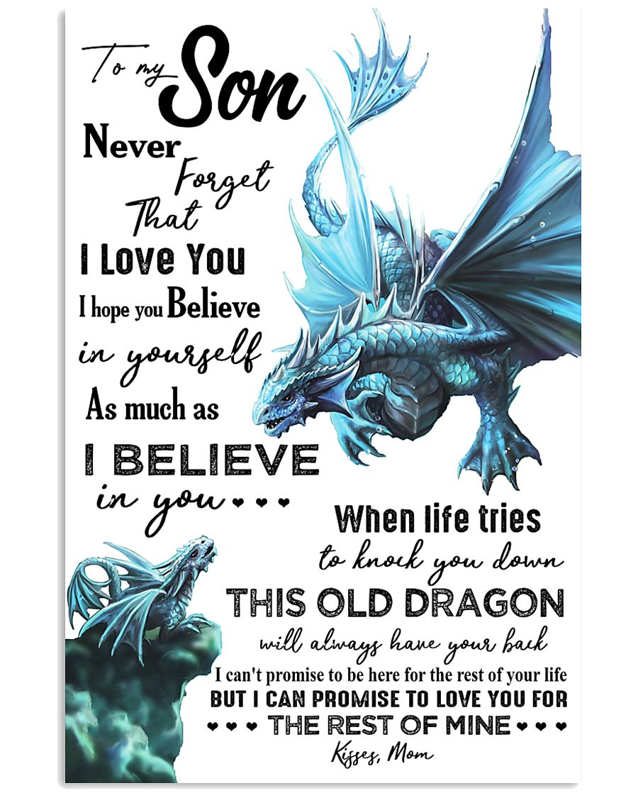 MOM TO SON - AQUA DRAGON - NEVER FORGET 16x24 Poster