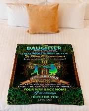 """Daughter - Cross - Wherever Your Journey In Life Small Fleece Blanket - 30"""" x 40"""" aos-coral-fleece-blanket-30x40-lifestyle-front-04"""