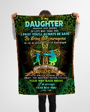 """Daughter - Cross - Wherever Your Journey In Life Small Fleece Blanket - 30"""" x 40"""" aos-coral-fleece-blanket-30x40-lifestyle-front-14"""