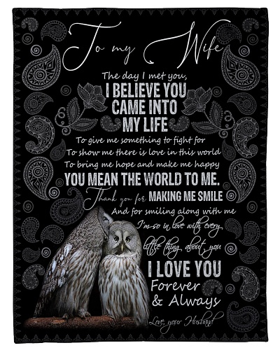 BLANKET - TO MY WIFE - OWL - I LOVE YOU