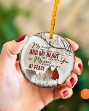 My Mind Still Talks To You - Cardinal Circle ornament - single (porcelain) aos-circle-ornament-single-porcelain-lifestyles-09