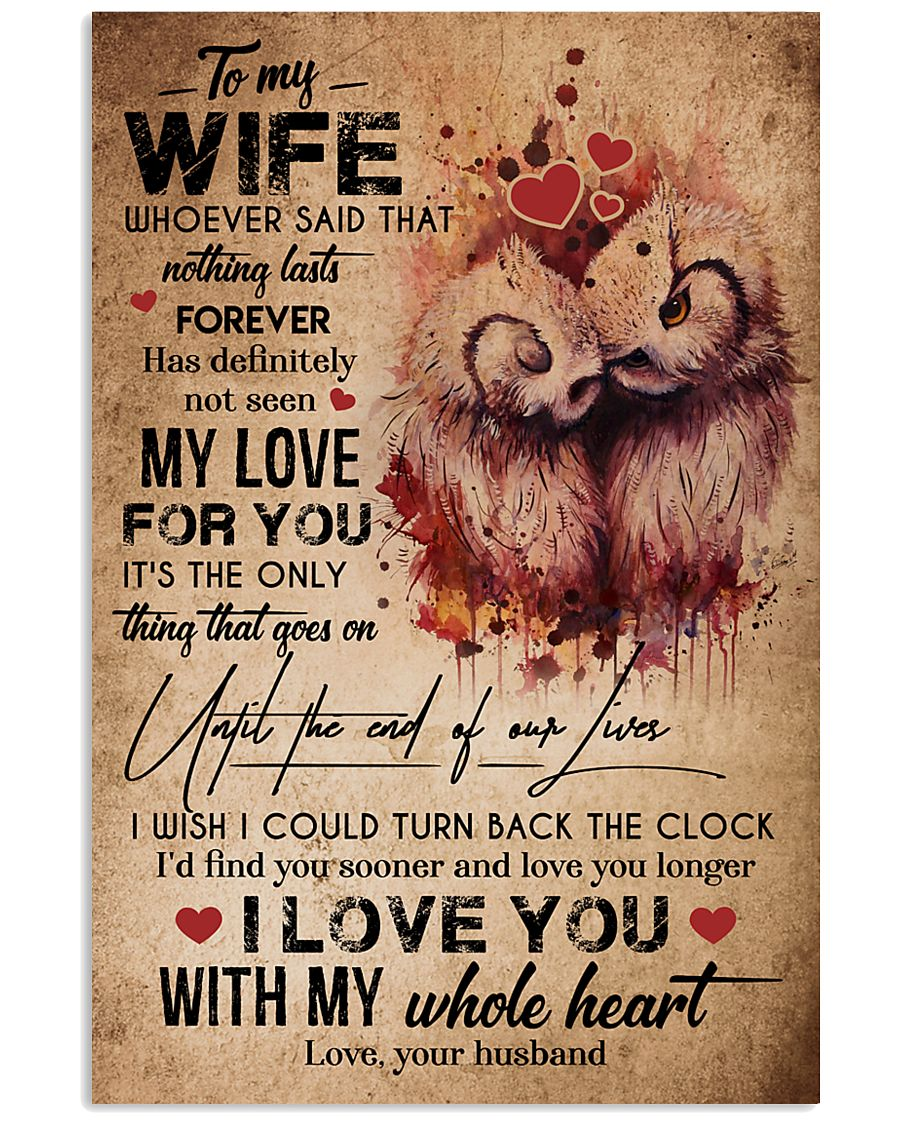 TO MY WIFE - OWL - I LOVE YOU FOREVER AND ALWAYS 16x24 Poster