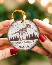 Christmas - Tyrannosaurus Rex - Personalized Circle ornament - single (porcelain) aos-circle-ornament-single-porcelain-lifestyles-08