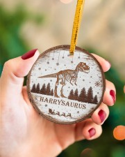 Christmas - Tyrannosaurus Rex - Personalized Circle ornament - single (porcelain) aos-circle-ornament-single-porcelain-lifestyles-09