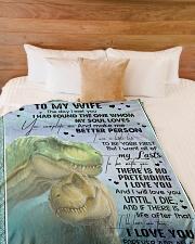 "T rex - The Day I Met You - Fleece Blanket Large Fleece Blanket - 60"" x 80"" aos-coral-fleece-blanket-60x80-lifestyle-front-02"
