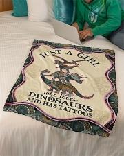 "Saurus - Just A Girl Who Loves - Fleece Blanket Small Fleece Blanket - 30"" x 40"" aos-coral-fleece-blanket-30x40-lifestyle-front-07"