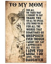TO MY MOM - LION - THANK YOU 16x24 Poster front
