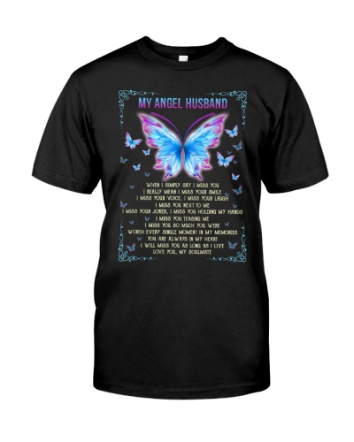 T-SHIRT - MY ANGEL HUSBAND - BUTTERFLY - MISS YOU