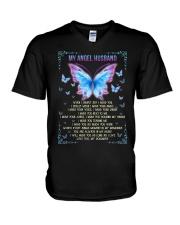 T-SHIRT - MY ANGEL HUSBAND - BUTTERFLY - MISS YOU V-Neck T-Shirt thumbnail