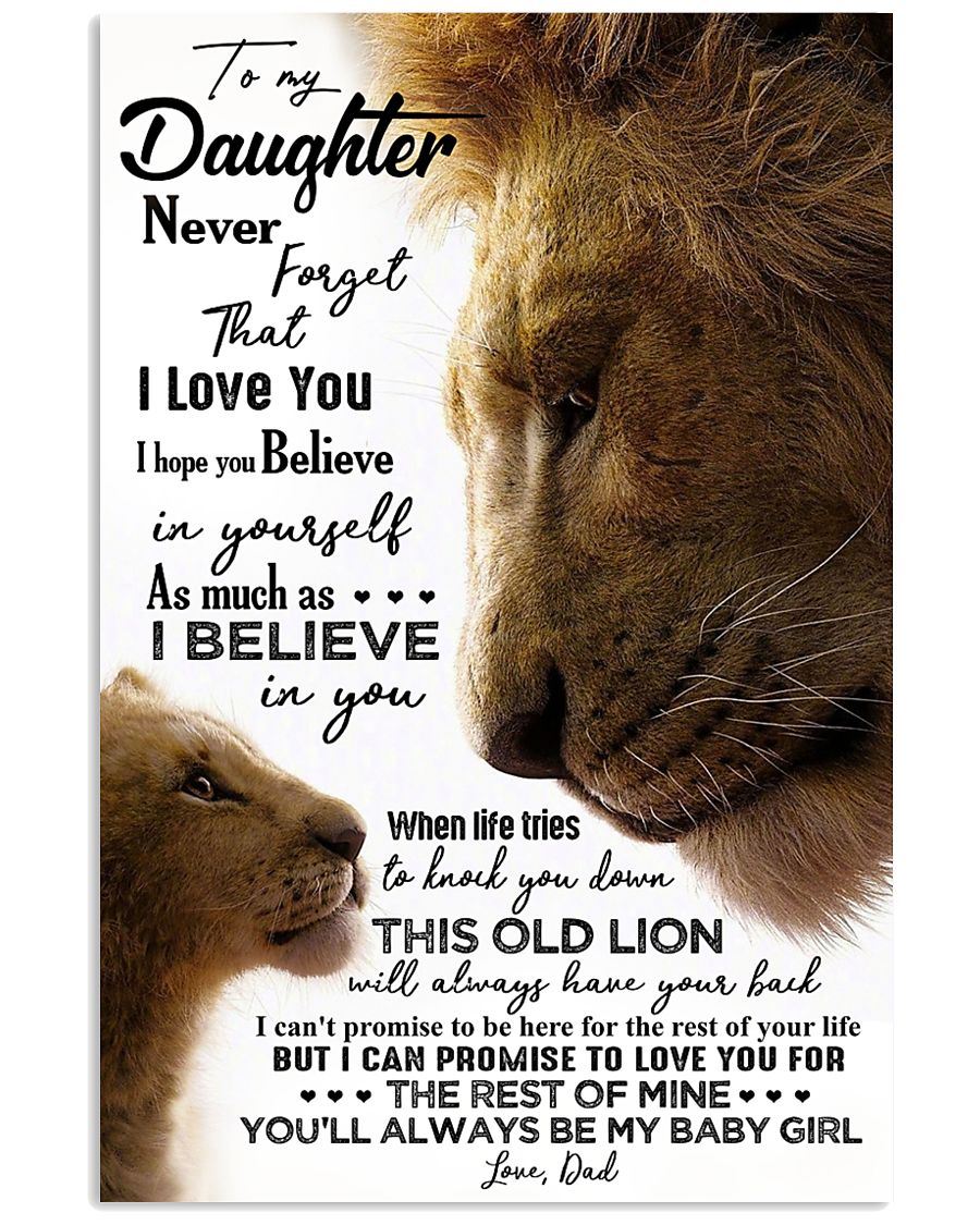 TO MY DAUGHTER - LION - BABY GIRL 16x24 Poster