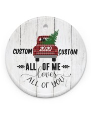 To Wife - Christmas - Red Truck - Personalized Circle ornament - single (porcelain) front