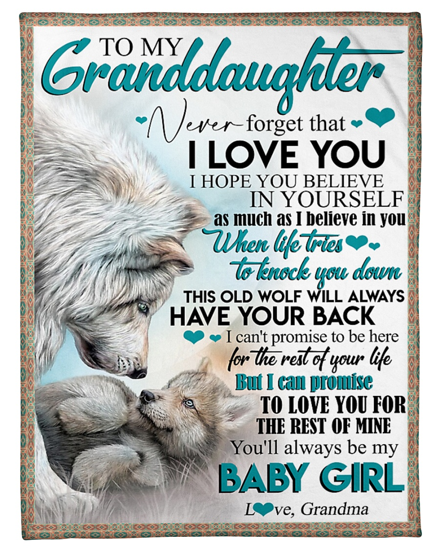 """TO MY GRANDDAUGHTER - WOLVES - I LOVE YOU Small Fleece Blanket - 30"""" x 40"""""""