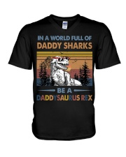 TO DAD - T REX - IN A WORLD FULL OF DADDY SHARKS V-Neck T-Shirt thumbnail