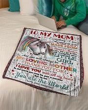 """FLEECE BLANKET - TO MY MOM - UNICORN - THANK YOU Small Fleece Blanket - 30"""" x 40"""" aos-coral-fleece-blanket-30x40-lifestyle-front-07"""