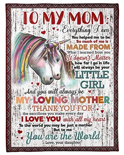 FLEECE BLANKET - TO MY MOM - UNICORN - THANK YOU