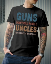 Guns Don't kill people Uncles  Classic T-Shirt lifestyle-mens-crewneck-front-6