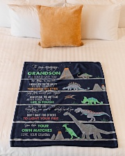 "GRANDMA TO GRANDSON - DINO - LIFE IS TOUGH Small Fleece Blanket - 30"" x 40"" aos-coral-fleece-blanket-30x40-lifestyle-front-04"