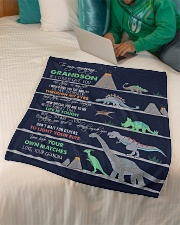 "GRANDMA TO GRANDSON - DINO - LIFE IS TOUGH Small Fleece Blanket - 30"" x 40"" aos-coral-fleece-blanket-30x40-lifestyle-front-07"