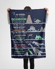 "GRANDMA TO GRANDSON - DINO - LIFE IS TOUGH Small Fleece Blanket - 30"" x 40"" aos-coral-fleece-blanket-30x40-lifestyle-front-14"