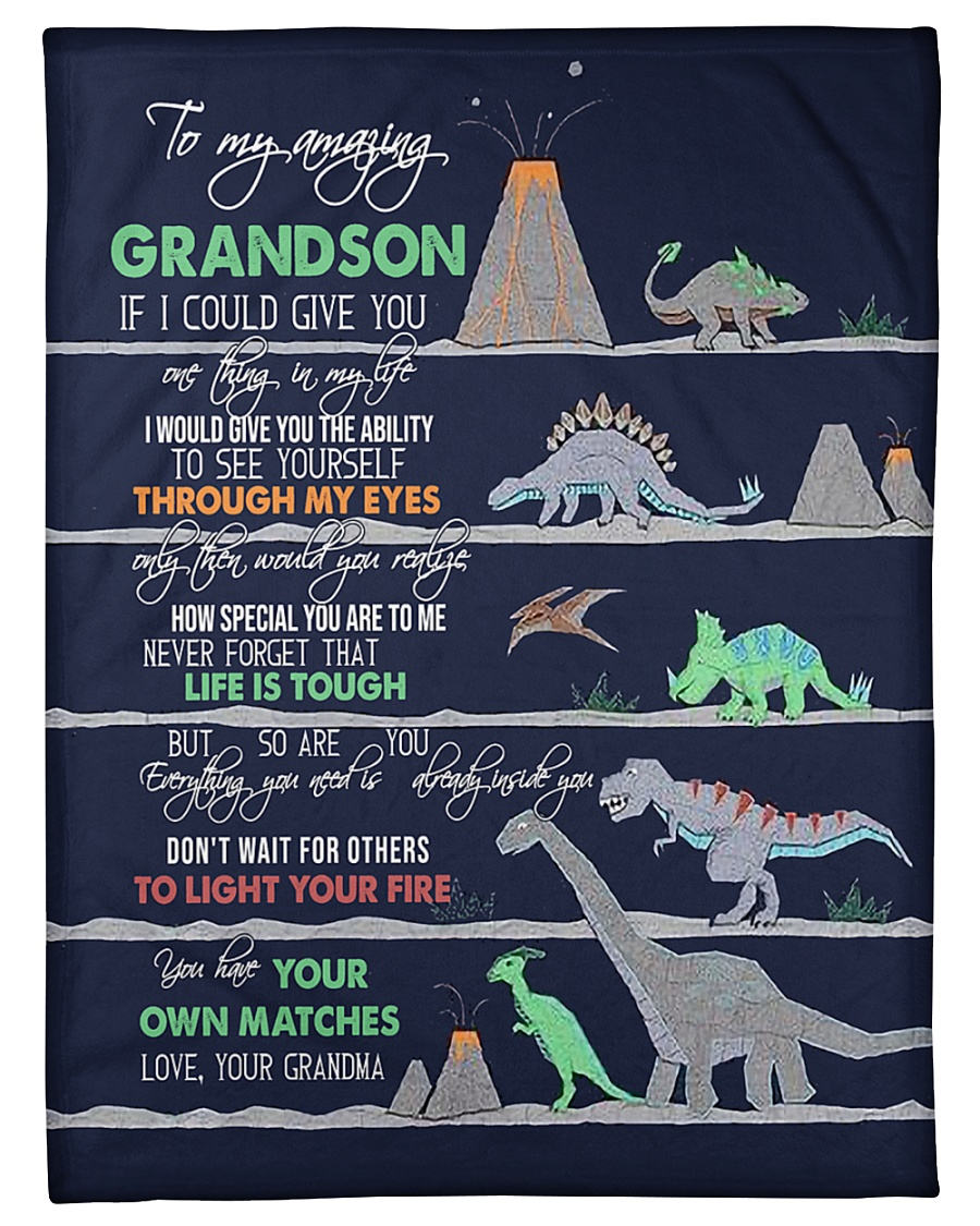 "GRANDMA TO GRANDSON - DINO - LIFE IS TOUGH Small Fleece Blanket - 30"" x 40"""