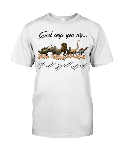 Dinosaur - Flowers - God Says You Are - T-shirt