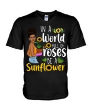 In a world full of roses be a sunflower V-Neck T-Shirt thumbnail