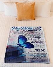 """FLEECE BLANKET - TO MY ANGEL MOM Small Fleece Blanket - 30"""" x 40"""" aos-coral-fleece-blanket-30x40-lifestyle-front-04"""