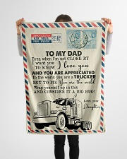 "To My Dad - Trucker - Fleece Blanket Small Fleece Blanket - 30"" x 40"" aos-coral-fleece-blanket-30x40-lifestyle-front-14"