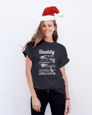 DAD - WHITE LETTERS IN BLACK - FAVORITE DINOSAUR Classic T-Shirt lifestyle-holiday-crewneck-front-1