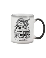 TO MY SON - DINO - WHEN LIFE TRIES TO KNOCK YOU  Color Changing Mug tile