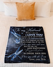 """TO MY HUSBAND - DRAGONFLY - I LOVE YOU Small Fleece Blanket - 30"""" x 40"""" aos-coral-fleece-blanket-30x40-lifestyle-front-04"""