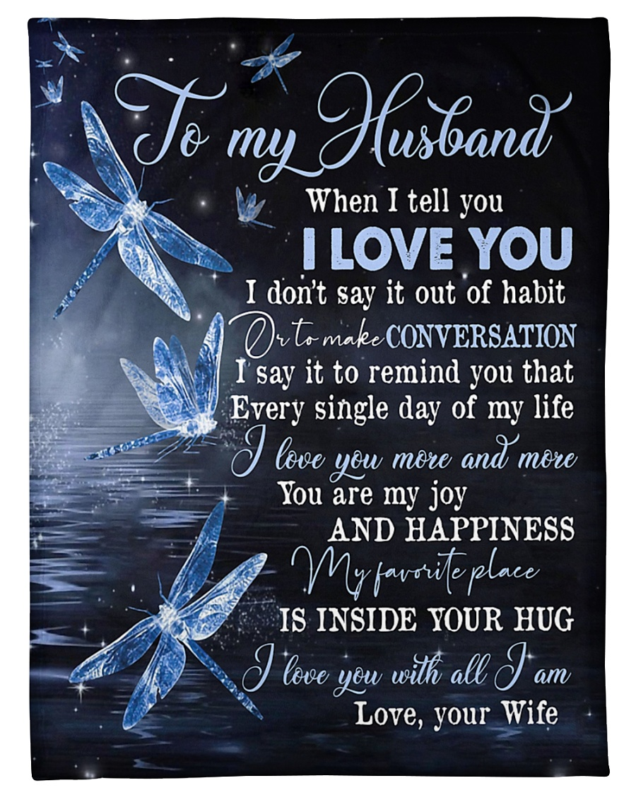 """TO MY HUSBAND - DRAGONFLY - I LOVE YOU Small Fleece Blanket - 30"""" x 40"""""""