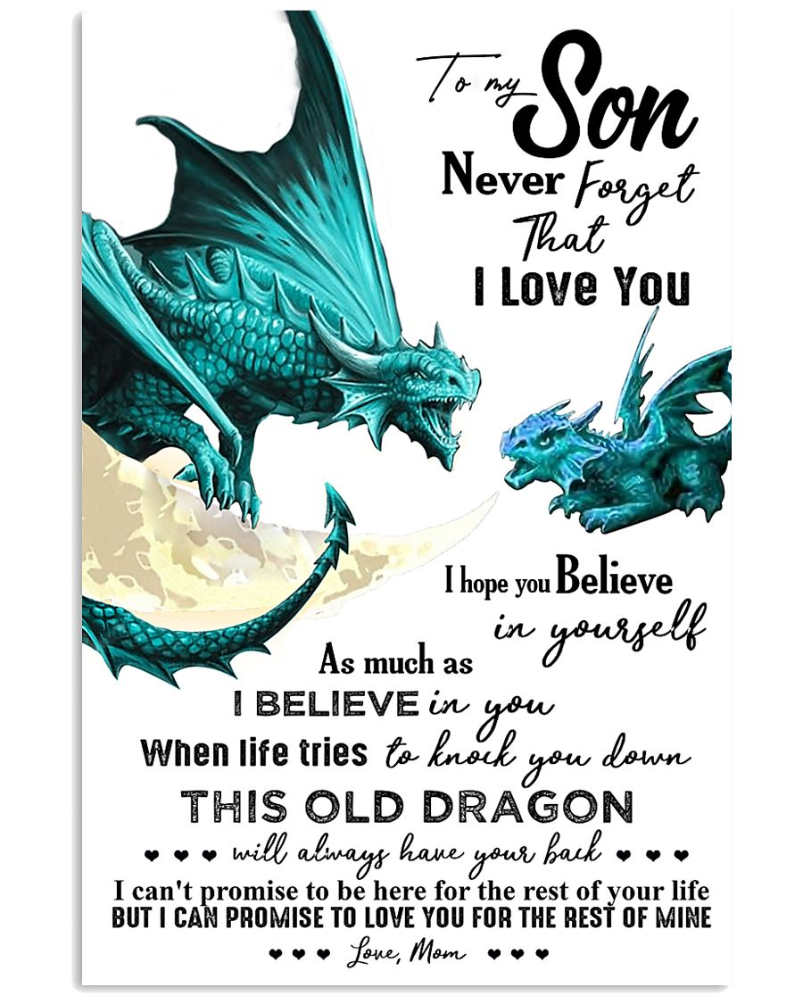 TO MY SON - TURQUOISE DRACO - OLD DRAGON 16x24 Poster
