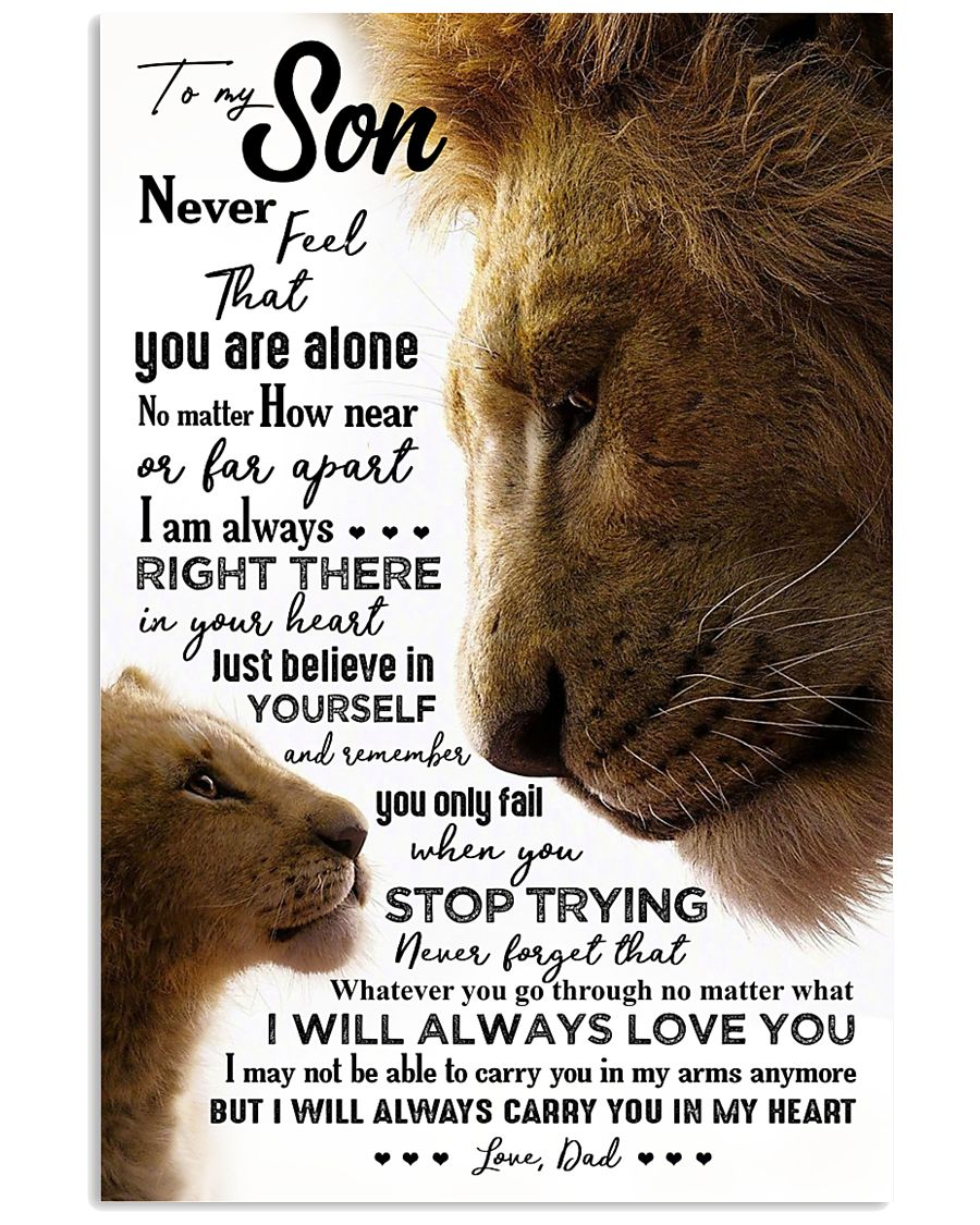 POSTER - TO MY SON - LION - NEVER FEEL 16x24 Poster