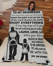 "Grandpa to Grandson - Laugh Love Live  Large Fleece Blanket - 60"" x 80"" aos-coral-fleece-blanket-60x80-lifestyle-front-04"