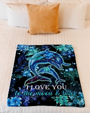 "DAUGHTER - DOLPHIN - LOVE YOU TO THE MOON  Small Fleece Blanket - 30"" x 40"" aos-coral-fleece-blanket-30x40-lifestyle-front-04"