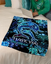 "DAUGHTER - DOLPHIN - LOVE YOU TO THE MOON  Small Fleece Blanket - 30"" x 40"" aos-coral-fleece-blanket-30x40-lifestyle-front-07"