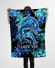 "DAUGHTER - DOLPHIN - LOVE YOU TO THE MOON  Small Fleece Blanket - 30"" x 40"" aos-coral-fleece-blanket-30x40-lifestyle-front-14"