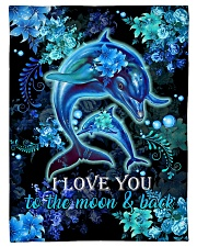 "DAUGHTER - DOLPHIN - LOVE YOU TO THE MOON  Small Fleece Blanket - 30"" x 40"" front"