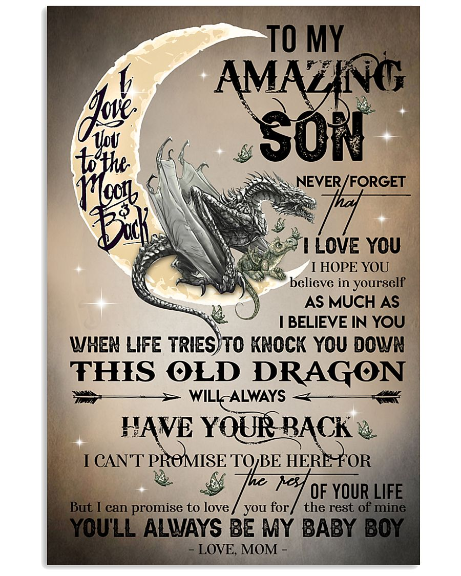 MOM TO SON - DRAGON MOON - BABY BOY 16x24 Poster