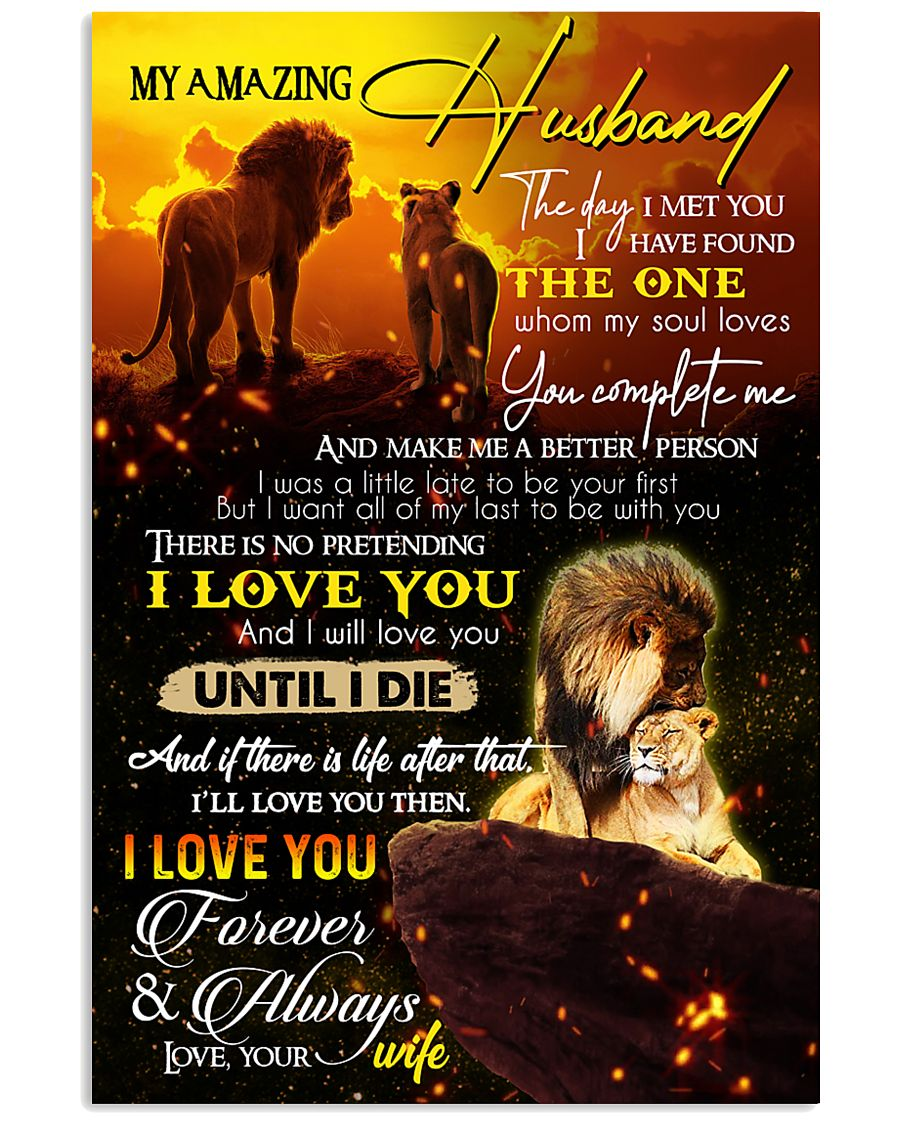 TO MY HUSBAND - LION - I LOVE YOU 16x24 Poster