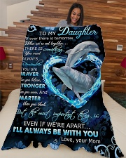 """To My Daughter - Dolphin - If There Is A Tomorrow  Large Fleece Blanket - 60"""" x 80"""" aos-coral-fleece-blanket-60x80-lifestyle-front-04"""