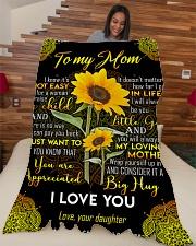 "To My Mom - Sunflower - Fleece Blanket Large Fleece Blanket - 60"" x 80"" aos-coral-fleece-blanket-60x80-lifestyle-front-04"