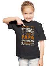 BECAUSE MY PAPA IS COMING AFTER YOU Youth T-Shirt lifestyle-youth-tshirt-front-2