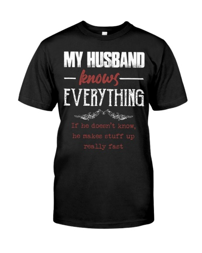 T-SHIRT - MY HUSBAND KNOWS EVERYTHING - VINTAGE